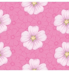 Seamless floral pattern mallow and cosmos vector