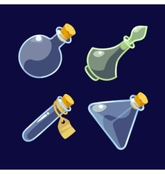 Set of cartoon glass bottles potion vector