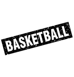 Square grunge black basketball stamp vector