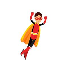 superhero teen girl in orange cape vector image vector image