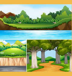 three nature scenes with river and road vector image vector image