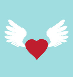 wings with heart vector image