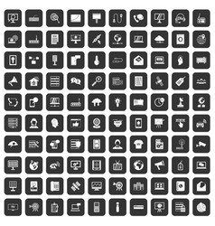 100 telecommunication icons set black vector