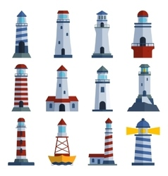 Set of cartoon flat lighthouses vector