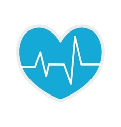 Heart blue pulse medical health care icon vector