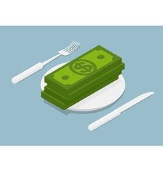 Stack of money isometrics 3d cash on plate cutlery vector
