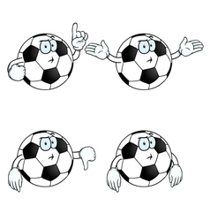 Thinking cartoon football set vector image