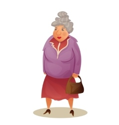 Funny old woman with bag grandmother walking vector