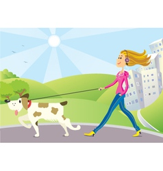 Woman and dog on walk vector image