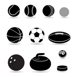 Sport balls black and white vector