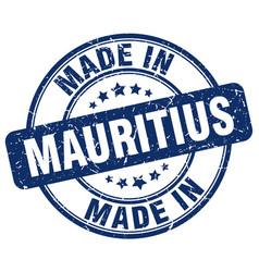 Made in mauritius blue grunge round stamp vector