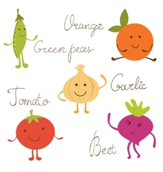 Cute vegetable characters set vector