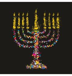 Grunge hakukiyahmenorahjewish symbol vector image