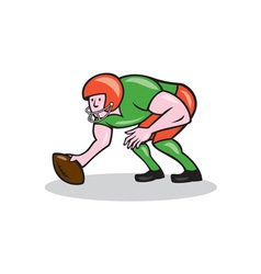 American football center snap side cartoon vector
