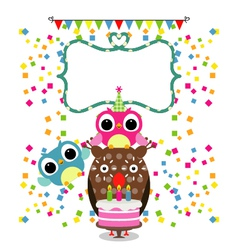 Birthday party card with funny birds vector image