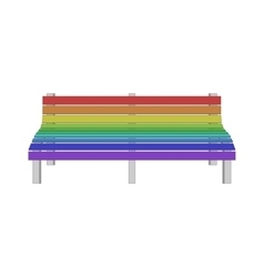 Single modern bench in gay rainbow colors vector