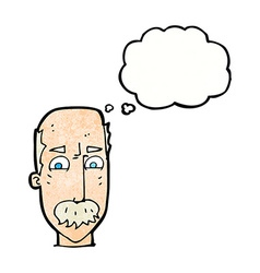 Cartoon annnoyed old man with thought bubble vector