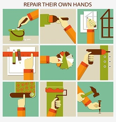 Repair their own hands set of home remodeling vector