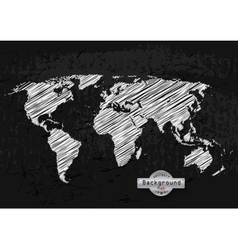 hand drawn white world map on a grey background vector image