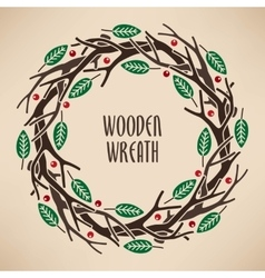 Wreath made of branches vector