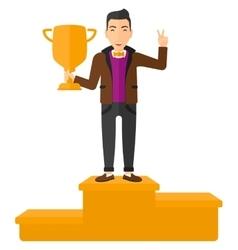 Cheerful man on pedestal vector image