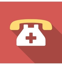 Clinic phone flat square icon with long shadow vector
