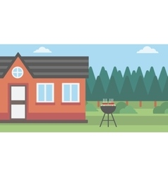 Background of the house with barbecue vector