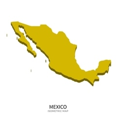 Isometric map of mexico detailed vector