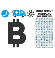 Bitcoin Icon with 1000 Medical Business Pictograms vector image vector image