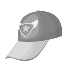 Cap football fanfans single icon in monochrome vector