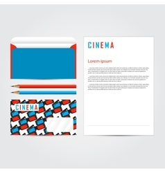 Cinema 3d corporate identity template set vector image vector image