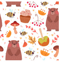 cute autumn seamless pattern with food and bear vector image vector image