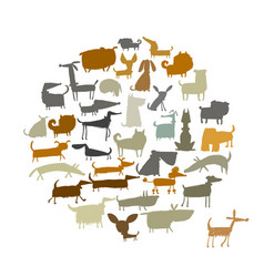 cute dogs collection sketch for your design vector image vector image