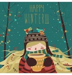 Cute winter cartoon girl with coffee vector image vector image