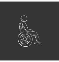 Disabled person drawn in chalk icon vector