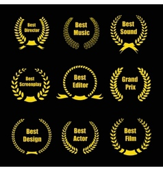 Film Awards gold award wreaths on black background vector image