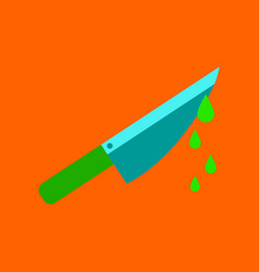 flat icon on background of knife blood vector image