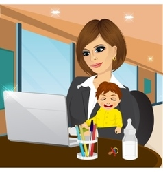 Focused mother working on laptop in cafe vector