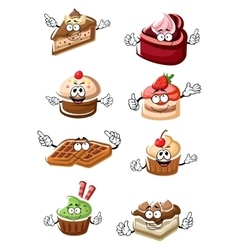 Fruity desserts cakes cupcakes and waffles vector