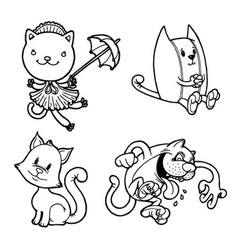 Funny kitties and cats in various poses vector