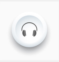 Headphones icon on a white button and white vector