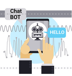 Man chatting with chat bot on cell smart phone vector