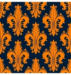 Orange decorative fleur-de-lis seamless pattern vector