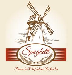 spaghetti pasta bakery label vector image