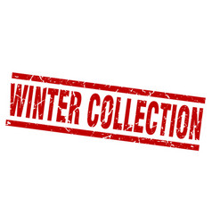 Square grunge red winter collection stamp vector