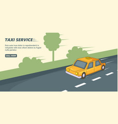 Taxi service banner horizontal cartoon style vector