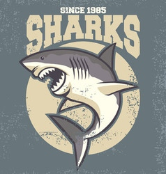 Vintage shark mascot vector