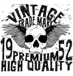 Vintage skull t shirt graphic design vector
