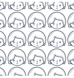 Woman face with expression and hairstyle vector