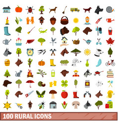 100 rural icons set flat style vector